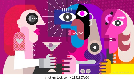 A woman with a cocktail. Three friends drinking cocktail at nightclub party. Modern abstract fine art painting.