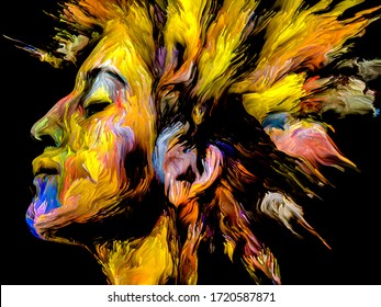 Woman of Color series. Abstract digital paint portrait of young woman on the subject of creativity, imagination and art.