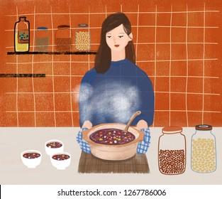 Woman cooking raspberry porridge in the kitchen