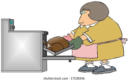 Woman Cooking A Turkey