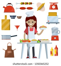 8a88fc5f76d02 Woman cooks in kitchen. Set of objects for cooking. Kettle