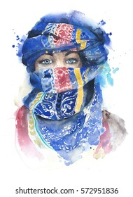 Woman covered face wearing scarf muslim girl portrait moroccan watercolor painting illustration isolated on white background