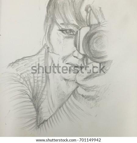 woman crying while taking shocking photodrawing stock illustration