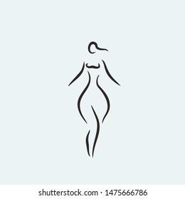 woman curvy shape icon line illustration