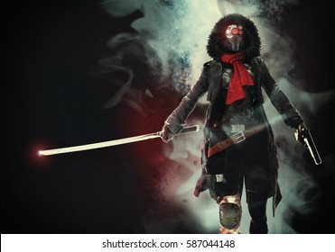 The woman a cyborg with a sword and the gun in hands. Science Fiction art. 3d illustration