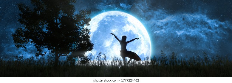 woman dancing on the background of a large full moon, 3d illustration