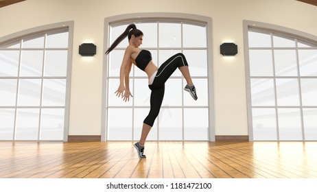 Woman Dancing in the Studio Free Style 3D Render
