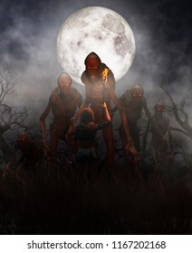Woman discover a mythical creature call bogeyman in creepy forest,3d illustration for book illustration or book cover