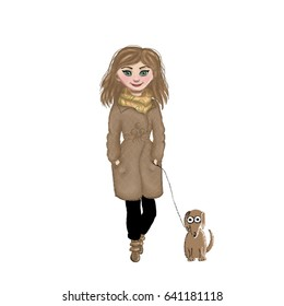 A woman with a dog on a leash