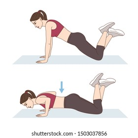 A woman is doing sports exercises. Knee push-ups. Workout for arms and pectoral muscles. Fitness for weight loss.