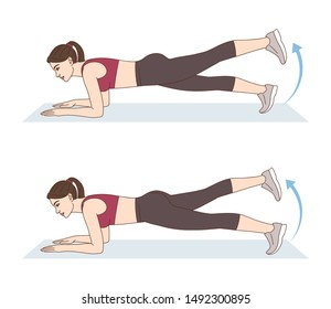 A woman is doing sports exercises. Raised leg elbow plank. Workout for the buttocks and lower back. Fitness for weight loss.