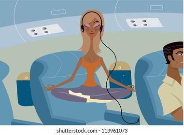 A woman doing yoga on a plane