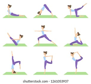 Woman doing yoga set of positions on white.