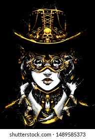 The woman drawn in the style of steampunk unusual sunglasses with huge lenses on the face, with gold accents in clothes. 2D Illustration