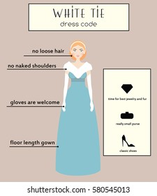 335093e36 Woman dress code infographic. White tie type. Female in evening long gown  dress