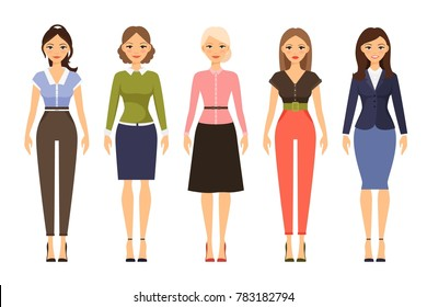 Woman dresscode illustration. Beautiful women in different outfits icons on white background