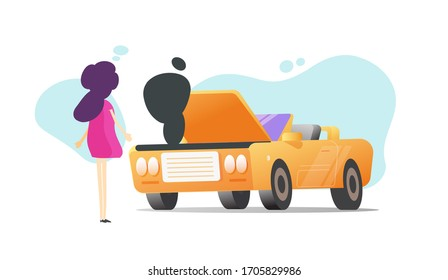 Woman driver near broken vehicle car or girl person standing near problem automobile accident isolated flat cartoon illustration scene, trouble auto transport with female character modern image