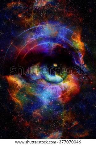 Woman Eye Cosmic Space Stars Music Stock Illustration