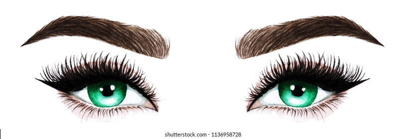Woman eyes with long eyelashes. Hand drawn watercolor illustration. Eyelashes and eyebrows. Сoncept of eyelash extensions, microblading, mascara,  beauty salon. Green eyes.
