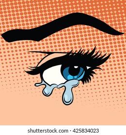 Woman eyes tears crying
