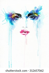 woman face .abstract watercolor .fashion background