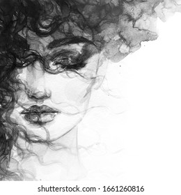 woman face. black and white background. fashion illustration. watercolor painting