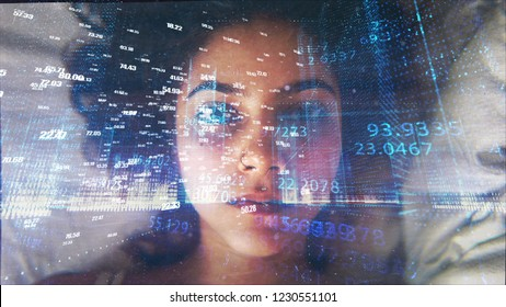 Woman Face with Numbers Overlay