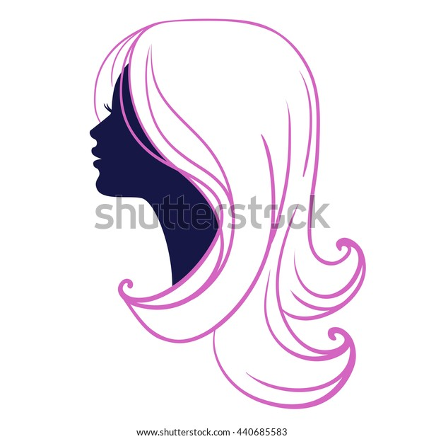 Woman face silhouette isolated on white background. Beautiful young woman with abstract long blond hair