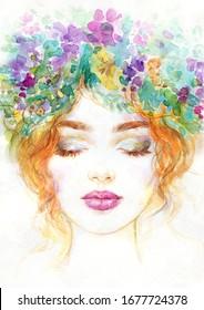 Frau mit Blumen. Schönheitshintergrund. Modegrafik. Aquarellmalerei