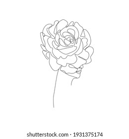 Woman with Flowers One Line Drawing. Continuous Line Woman and Flowers. Abstract Contemporary Design Template for Covers, t-Shirt Print, Postcard, Banner etc. Raster copy