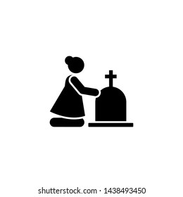 Woman funeral widow weep icon. Element of pictogram death illustration