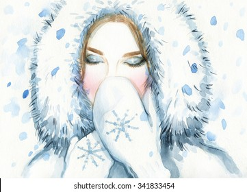 Woman in fur coat , winter. young beauty woman with mittens. watercolor illustration