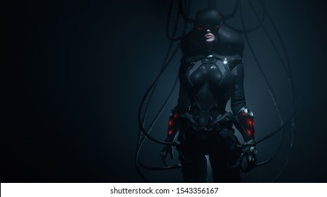 Woman gamer in futuristic suit and VR helmet diving deep into virtual reality. Dark Action Scene. Many wires connected to black sci-fi female costume. Cyber technology. Concept art. 3d illustration.