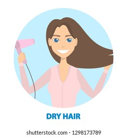 Woman getting ready. Morning routine with drying hair.