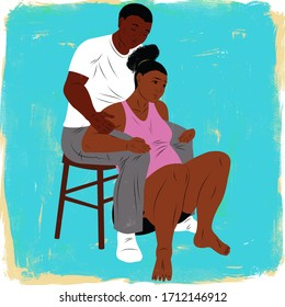 Woman giving birth using the partner support squat birth position