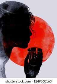 Woman with a glass of strong alcohol. digital hand drawn picture with watercolour texture. mixed media artwork.
