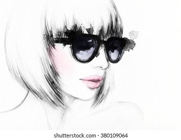 Woman with glasses.watercolor fashion illustration
