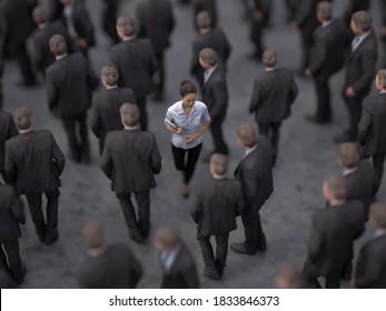 woman goes against a crowd of men, 3d illustration