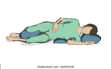 Woman good sleep posture illustration isolated