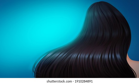 Woman hair care , healthy wash your hair concept : Beautiful long curly and shine on  blue background imply be well cleaned ้her hair for promote hair products . Digital painting illustration.