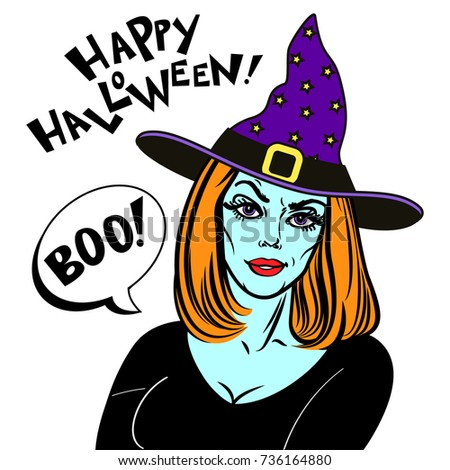woman halloween costume witch hat witch stock illustration 736164880