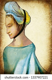 Woman. An hand painting - medieval inspiration. Vintage post-processing.