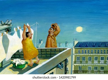 Woman hangs laundry at dawn on the roof of a high house sees a man walking in the air and waving his hat