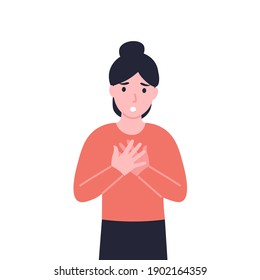 Woman has dyspnea, shortness of breath, disordered or inadequate breathing. Girl feeling chest tightness, pain in the chest and air hunger, lack of air, hyperventilation. Flat illustration.