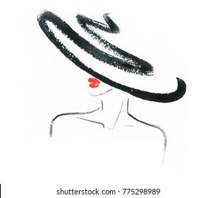 woman in hat. fashion illustration. watercolor painting