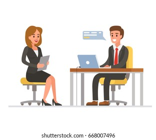 Woman having a job interview with Businessman HR.