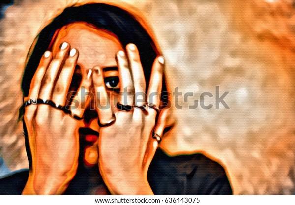 digital womans face screaming illustration