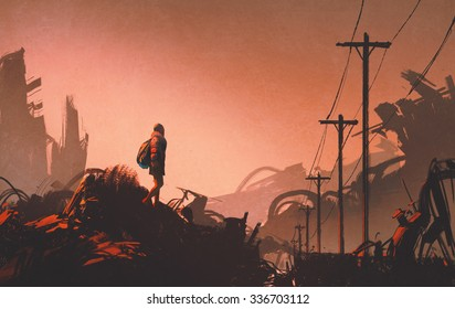 woman hiker looking at abandoned city,illustration painting