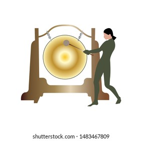 woman hitting a gong on white