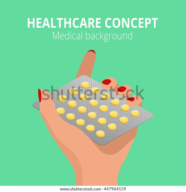 Woman holding blister pack of pills in his hands. Health care concept. Capsules in their hands. Take pills. Flat 3d isometric illustration.